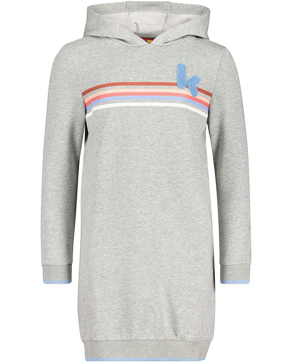 Kleider - Blassgrau - Sweatkleid mit Kapuze